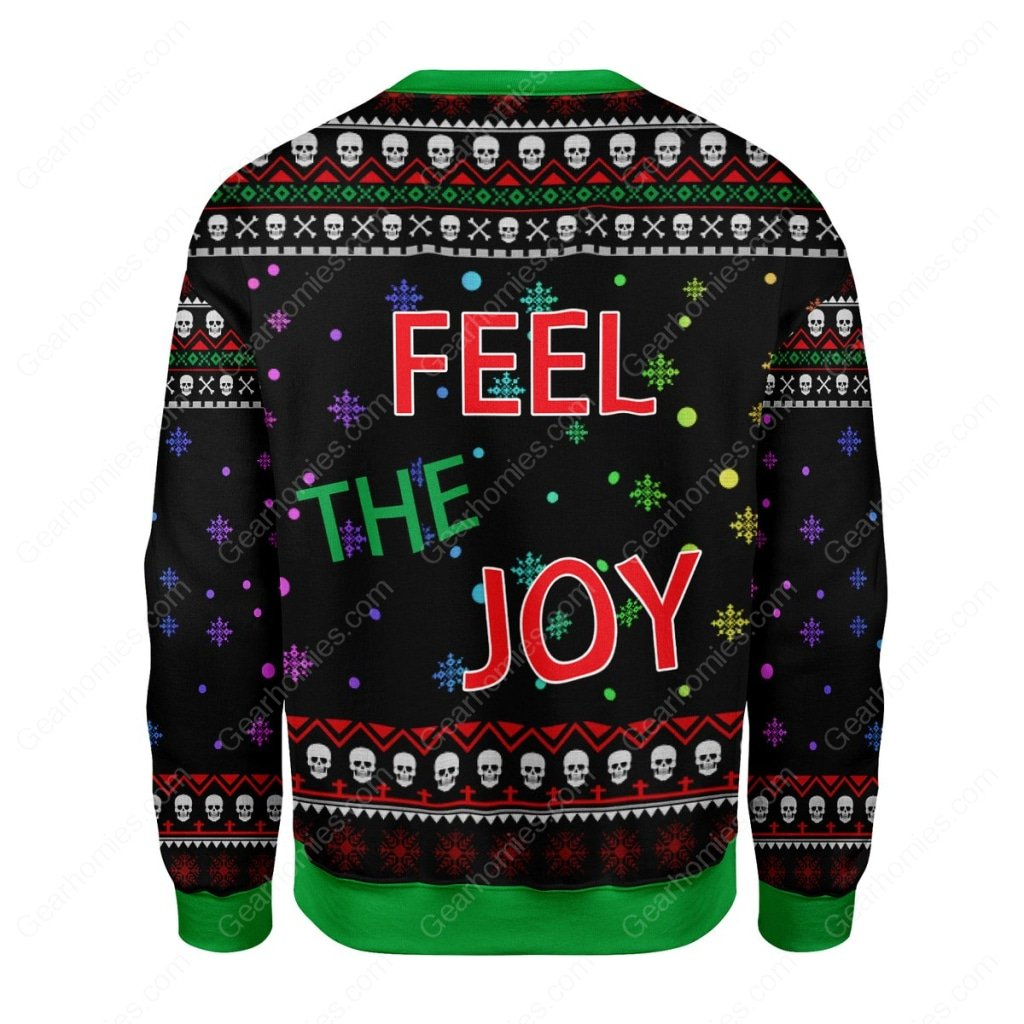 skull feel the joy all over printed ugly christmas sweater 4