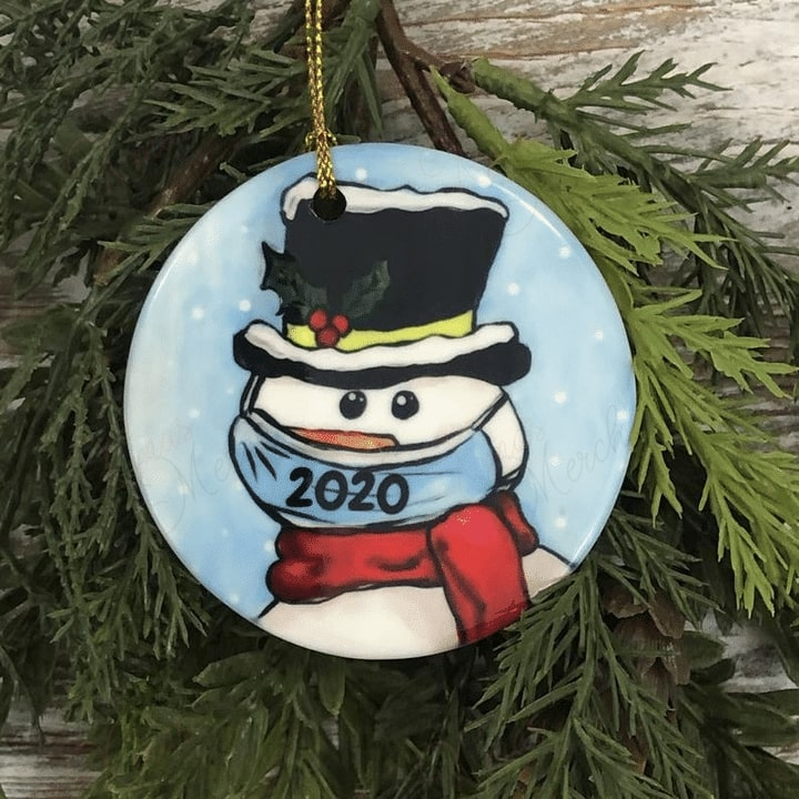 social distancing snowman with mask christmas ornament 2