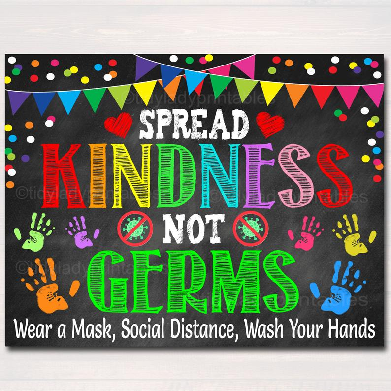 spread kindness not germs school health safety poster 2