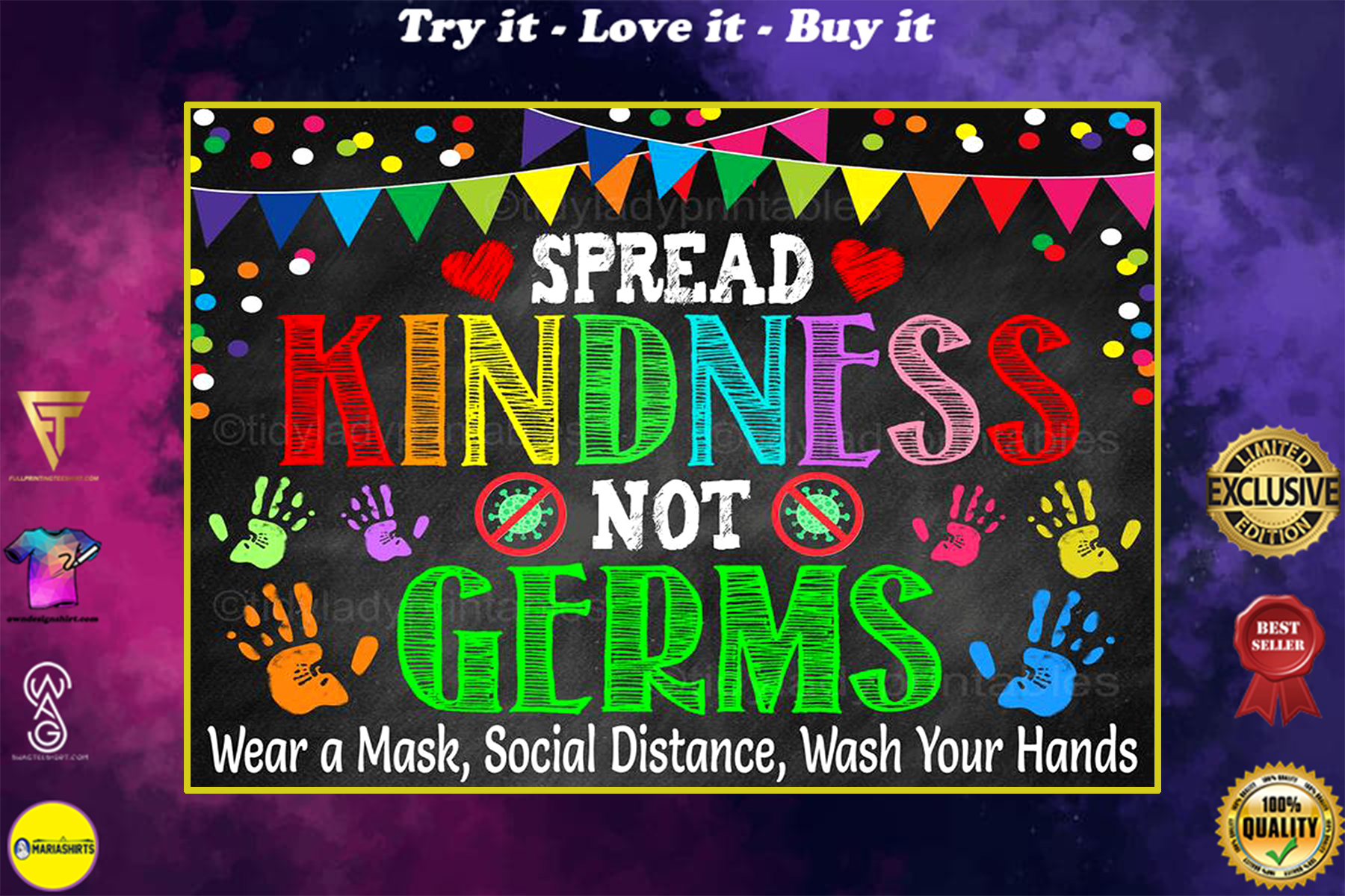 spread kindness not germs school health safety poster