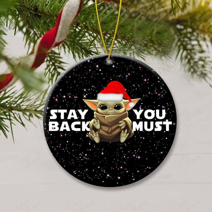 star wars baby yoda stay back you must christmas ornament 2