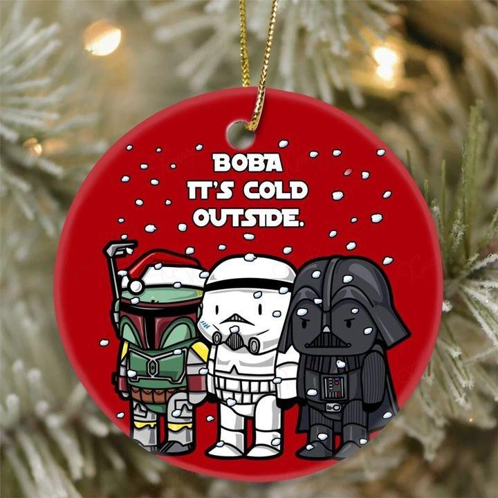 star wars darth vader and stormtrooper boba its cold outside christmas ornament 2
