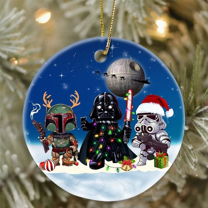 star wars death star darth vader and stormtrooper christmas ornament 2