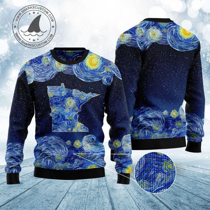 starry night vincent van gogh minnesota ugly christmas sweater 1