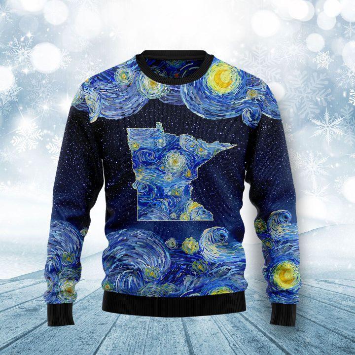 starry night vincent van gogh minnesota ugly christmas sweater 3