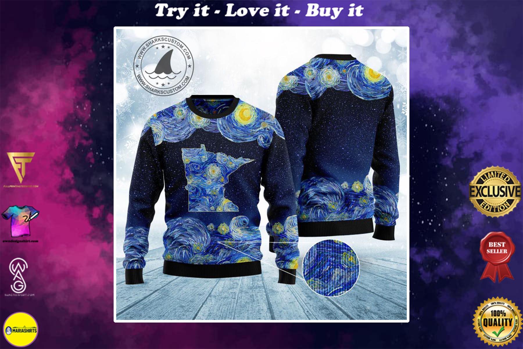starry night vincent van gogh minnesota ugly christmas sweater