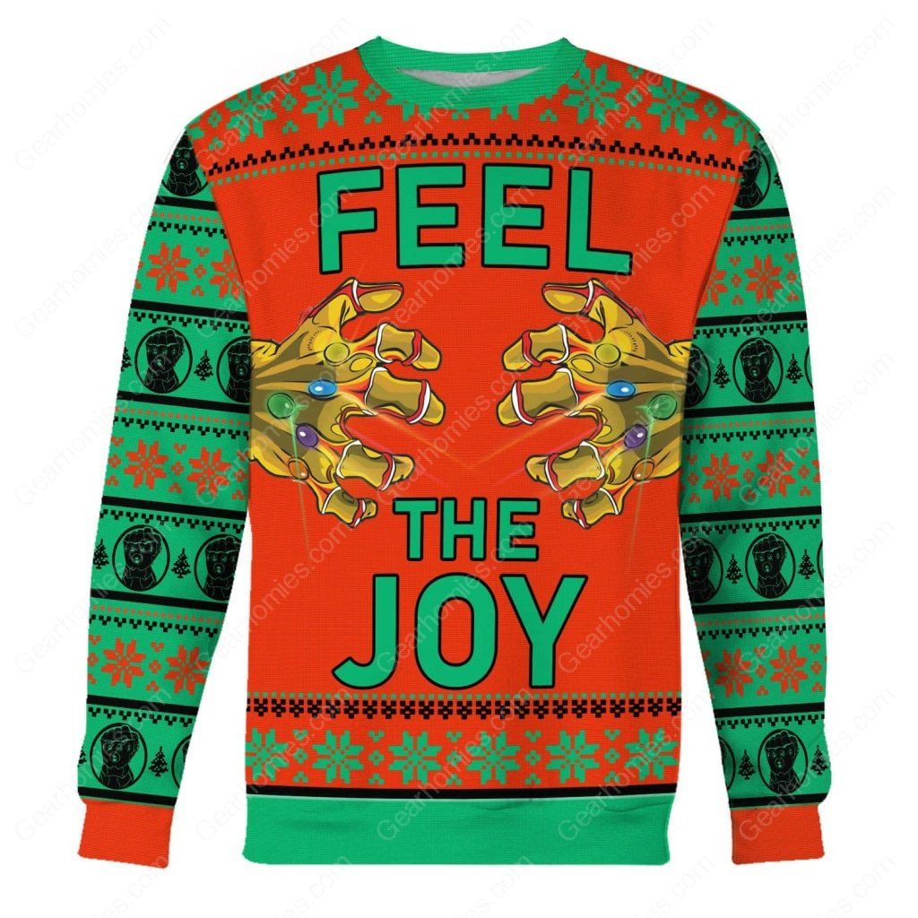 thanos feel the joy all over printed ugly christmas sweater 1