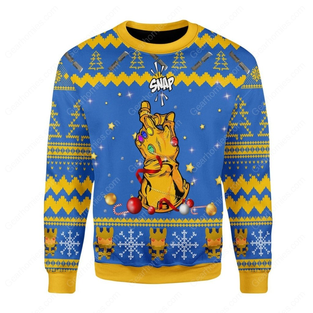 thanos snap all over printed ugly christmas sweater 1
