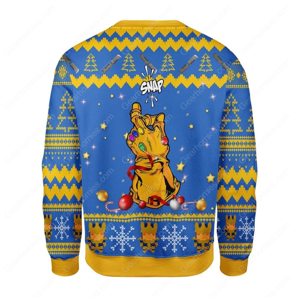 thanos snap all over printed ugly christmas sweater 4