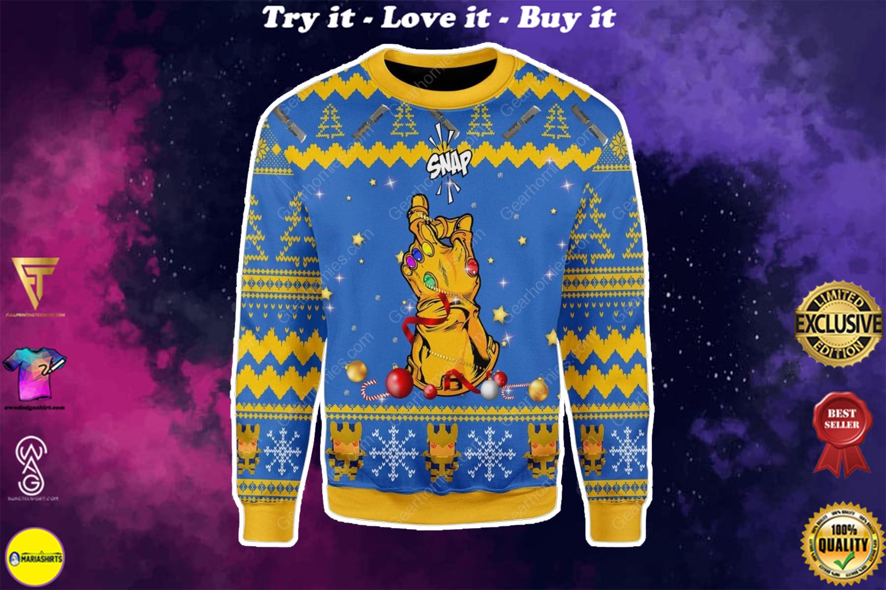 thanos snap all over printed ugly christmas sweater