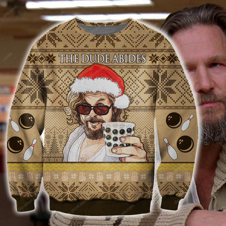 the dude abides the big lebowski ugly christmas sweater 4