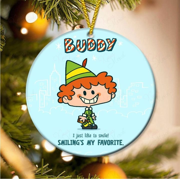 the elf buddy i just like to smile smilings my favorite christmas ornament 3