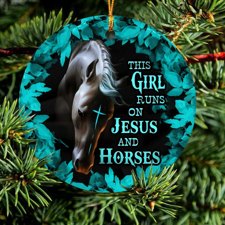the girl runs on Jesus and horses christmas ornament 2