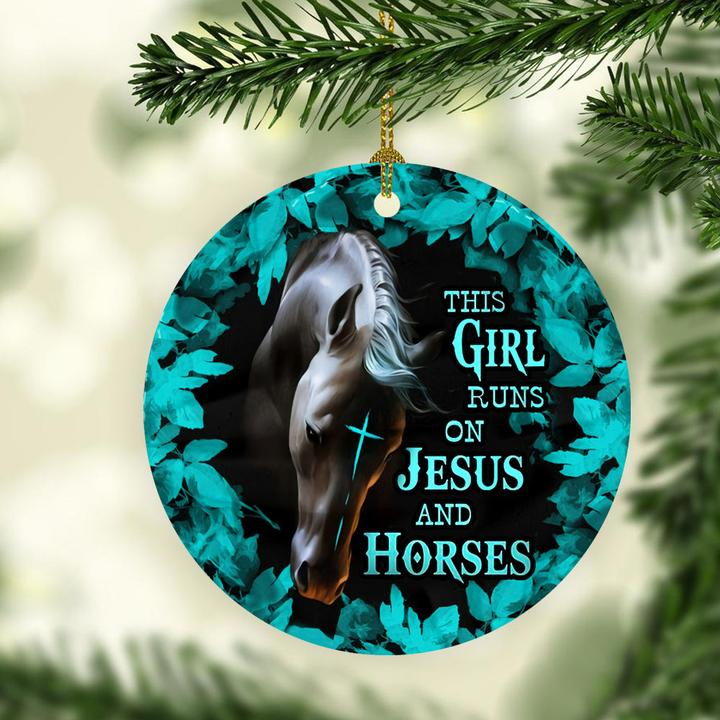 the girl runs on Jesus and horses christmas ornament 3