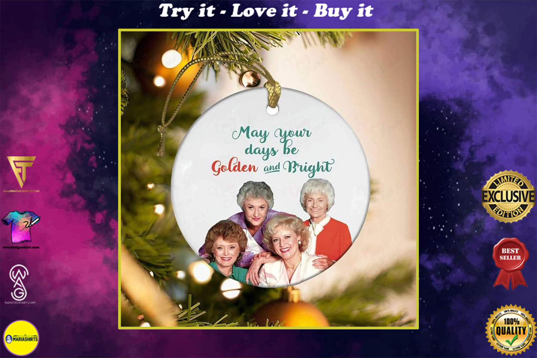 the golden girls may your days be golden and bright christmas ornament