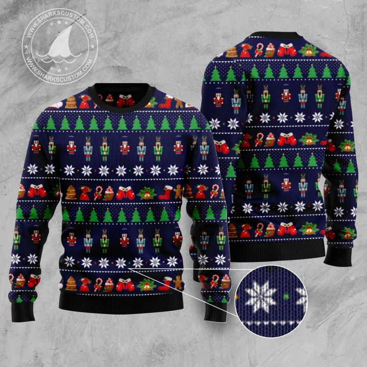 the nutcracker all over printed ugly christmas sweater 1