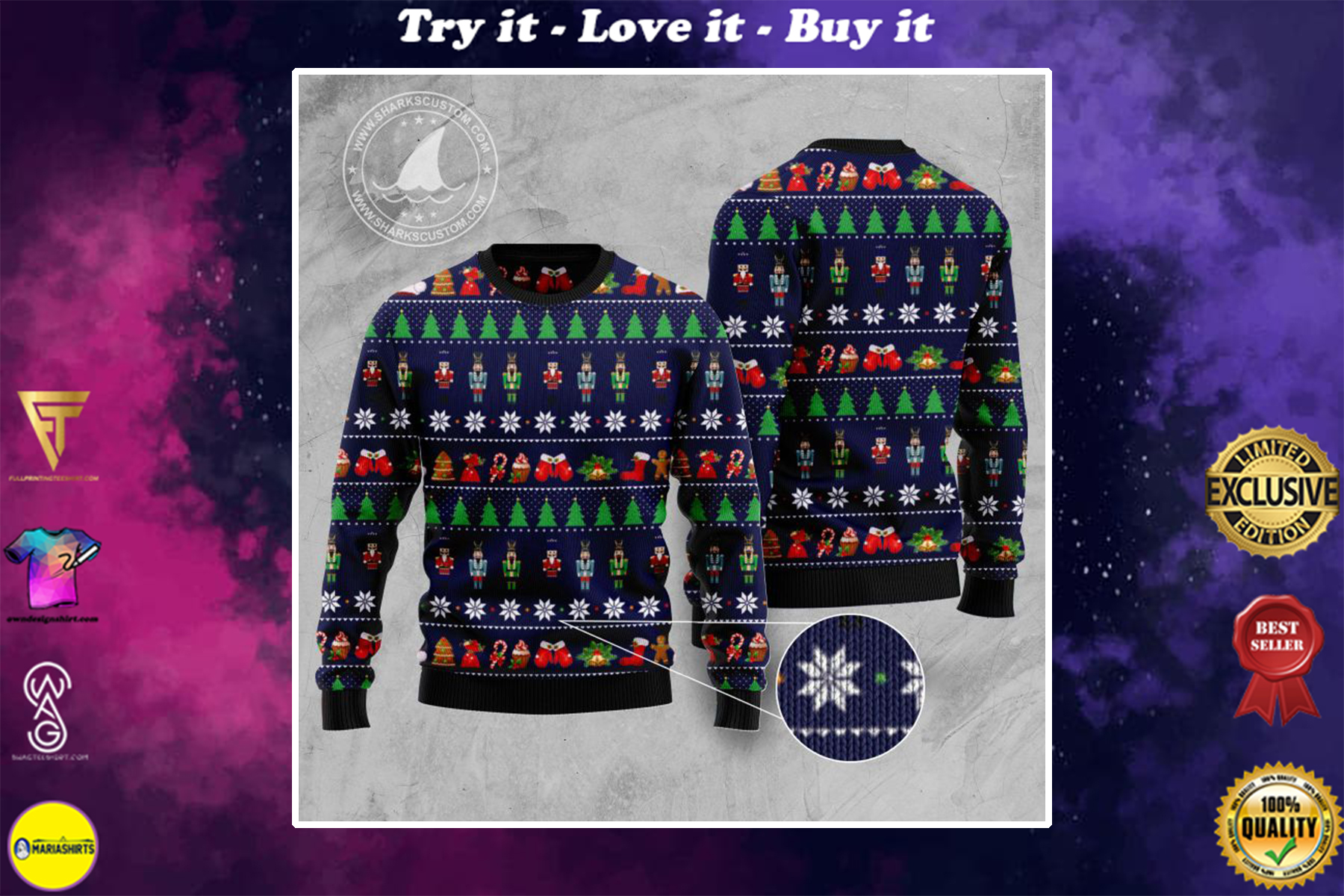the nutcracker all over printed ugly christmas sweater