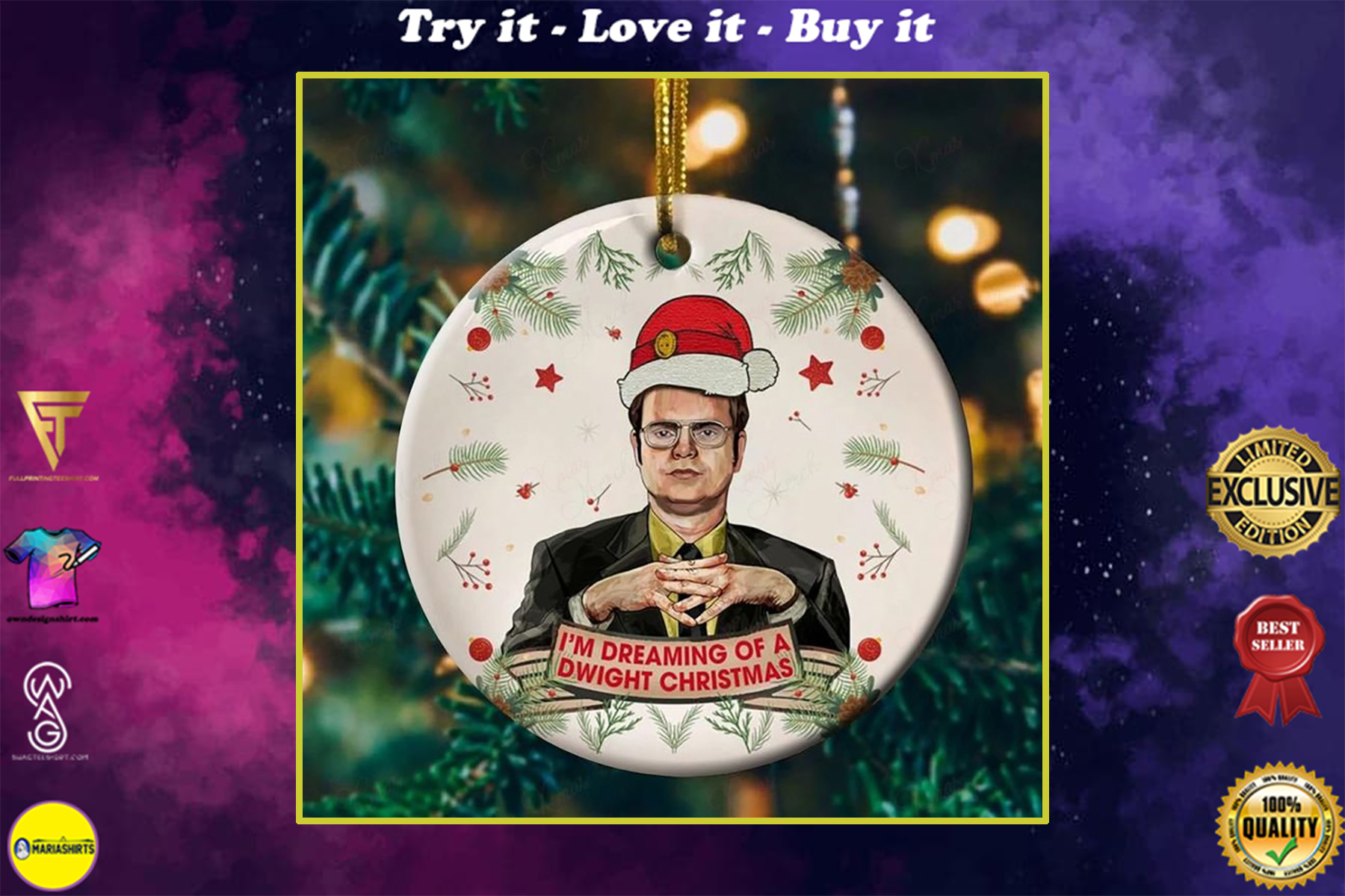 the office dwight schrute im dreaming of a dwight christmas ornament