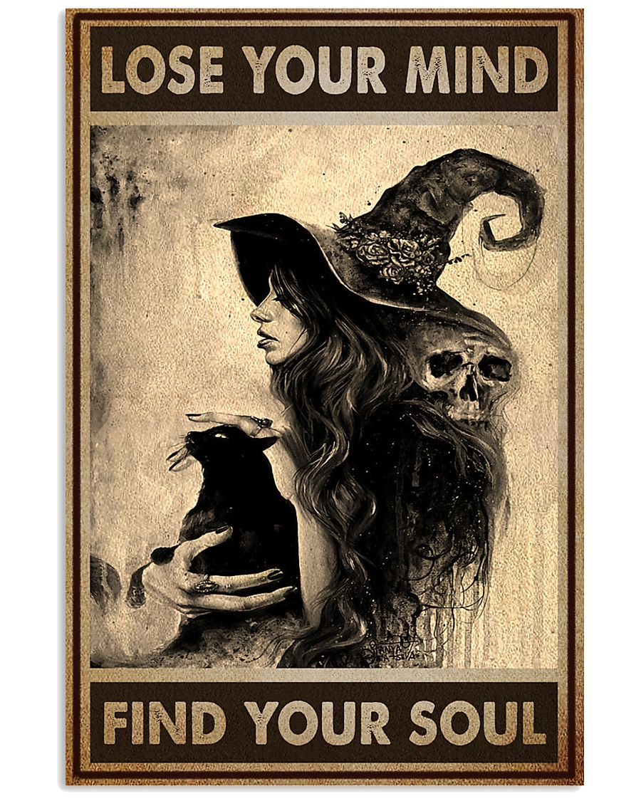 vintage black cat and witch lose your mind find your soul poster 1