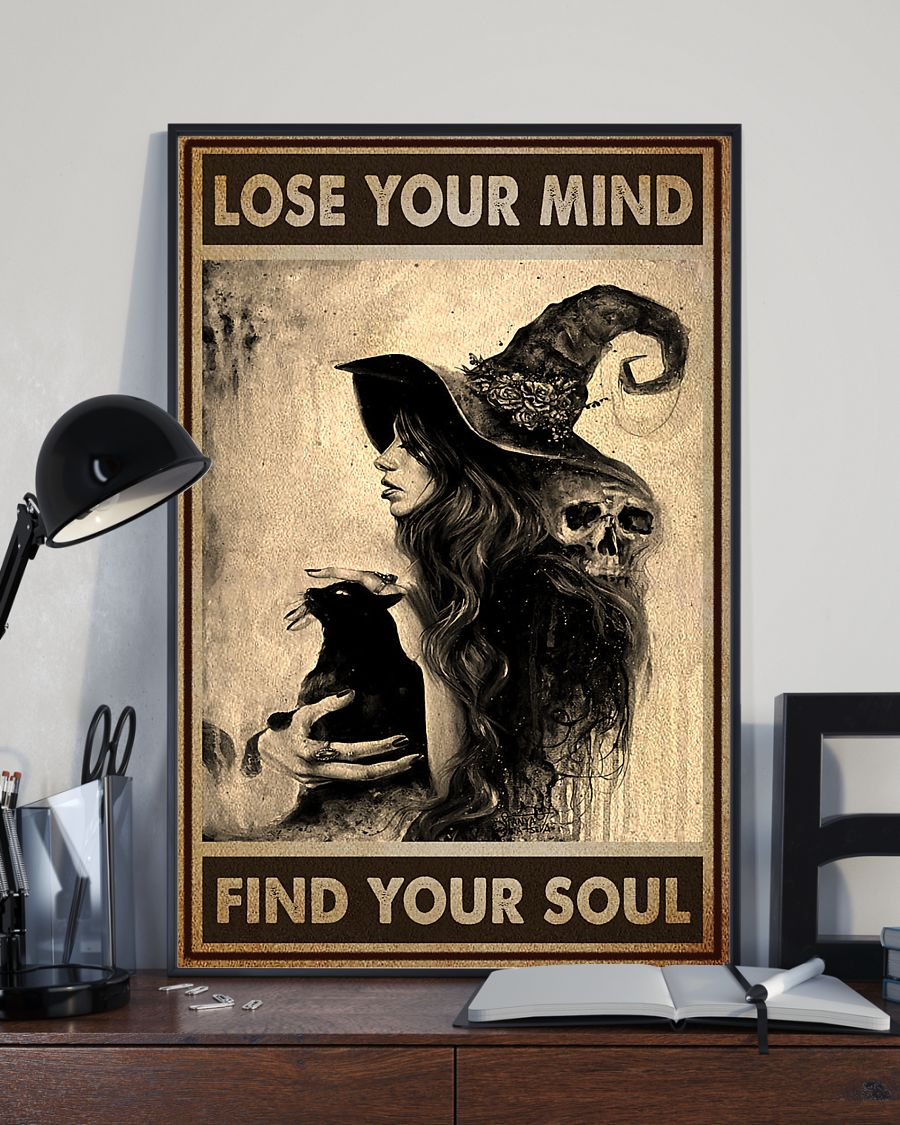 vintage black cat and witch lose your mind find your soul poster 2