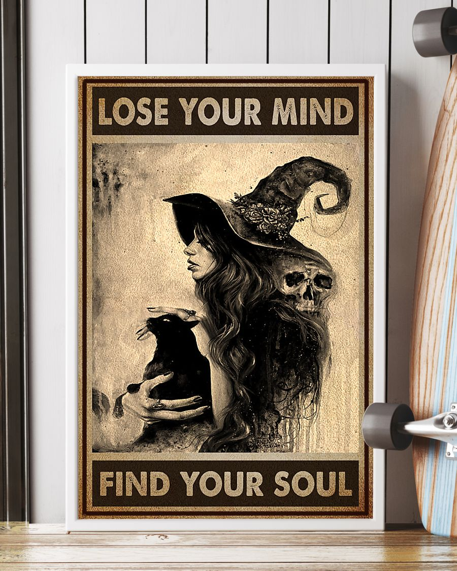 vintage black cat and witch lose your mind find your soul poster 3