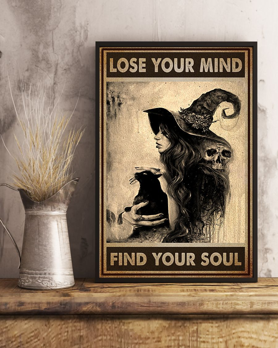 vintage black cat and witch lose your mind find your soul poster 4