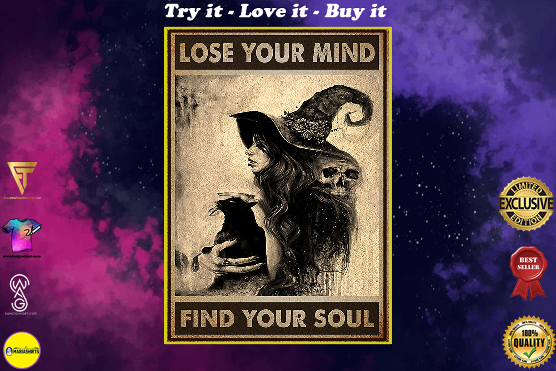 vintage black cat and witch lose your mind find your soul poster