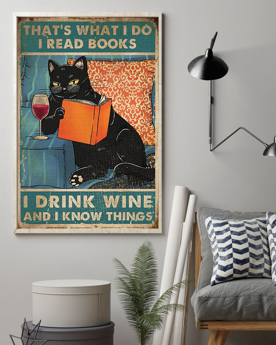 vintage black cat thats what i do i read books i drink wine and i know things poster 2