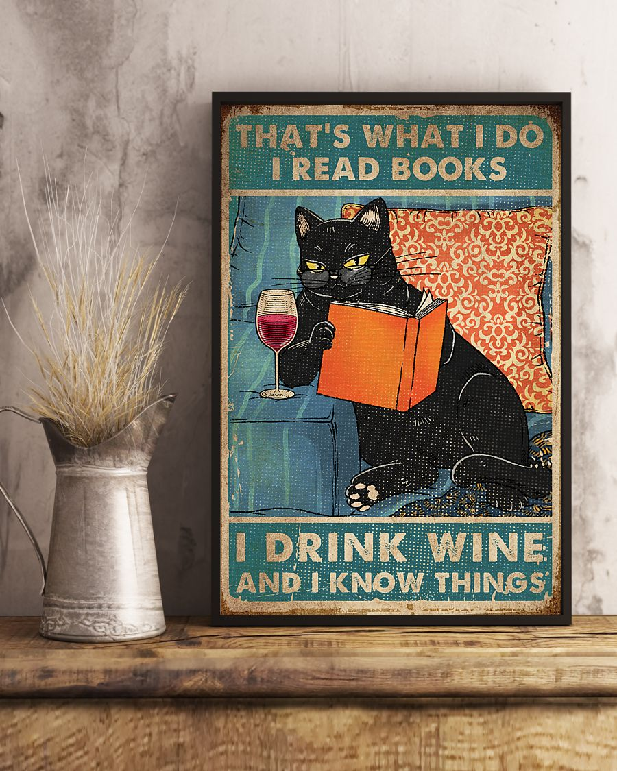 vintage black cat thats what i do i read books i drink wine and i know things poster 3