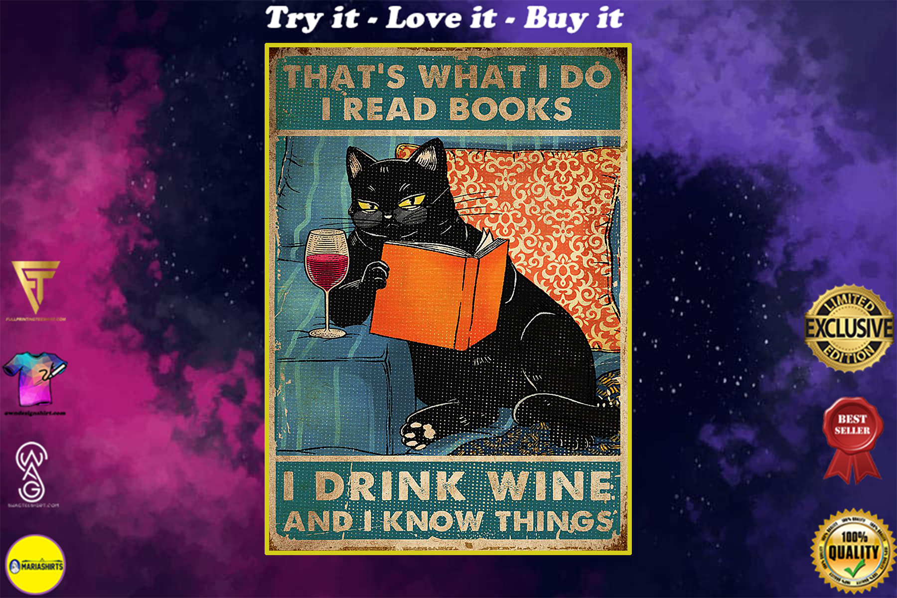 vintage black cat thats what i do i read books i drink wine and i know things poster