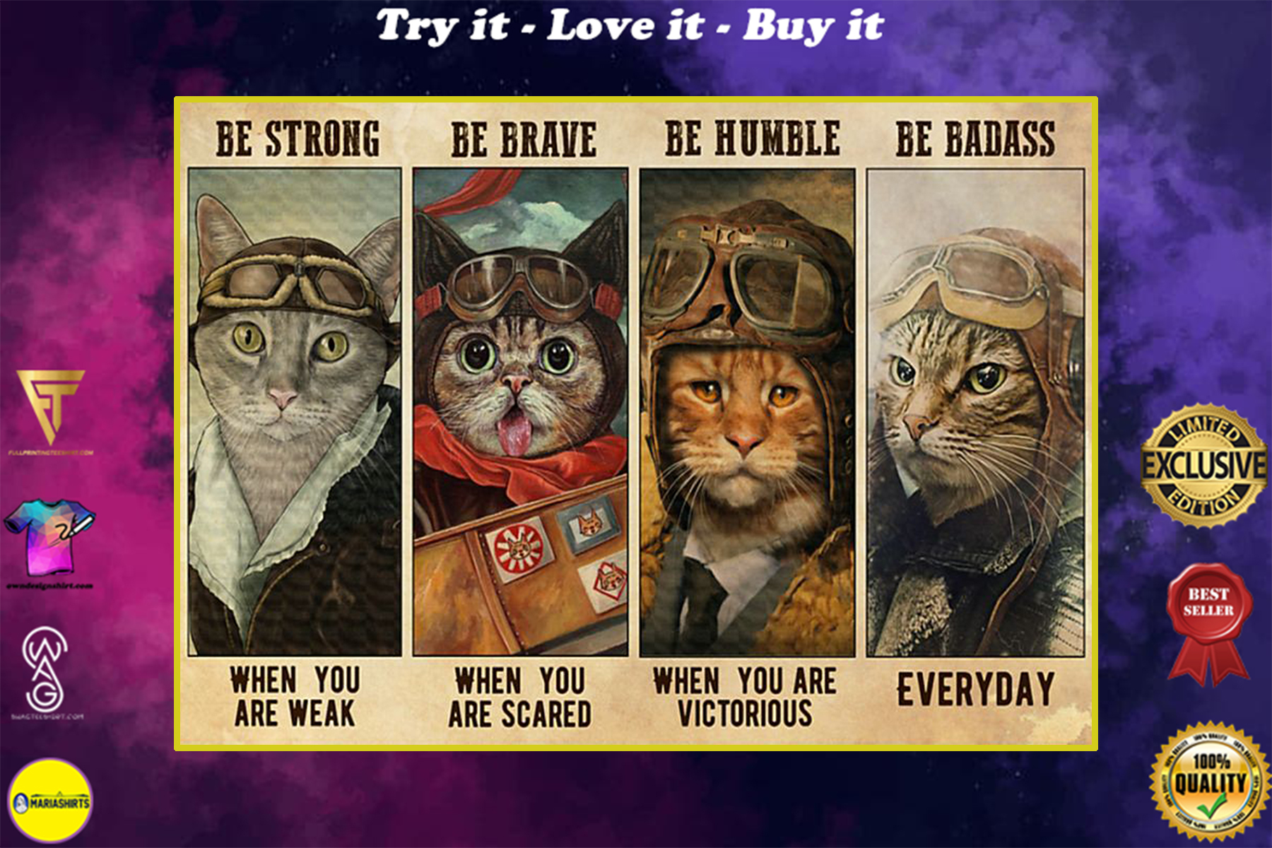 vintage cat pilot be strong when you are weak be brave when you are scared poster