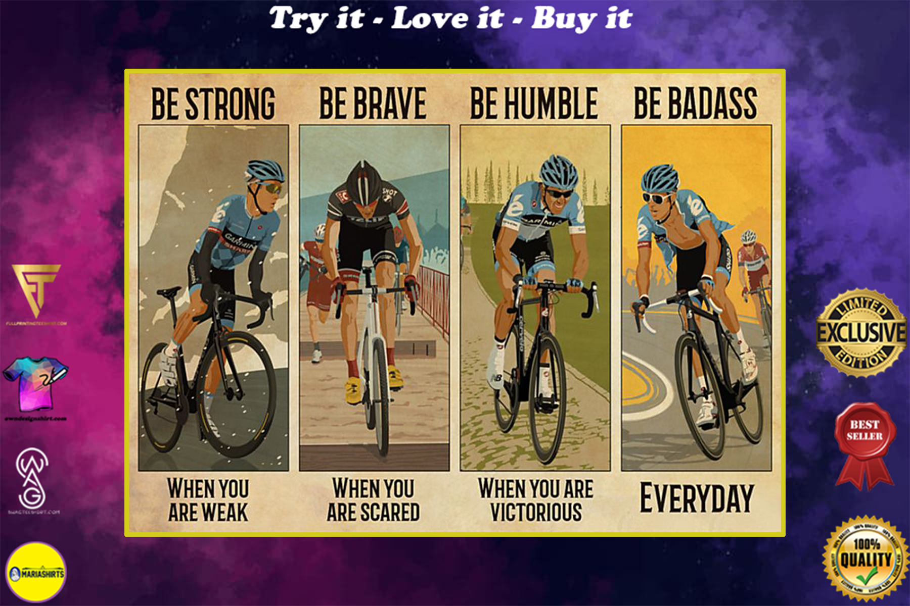 vintage cycling be strong when you are weak be brave when you are scared poster