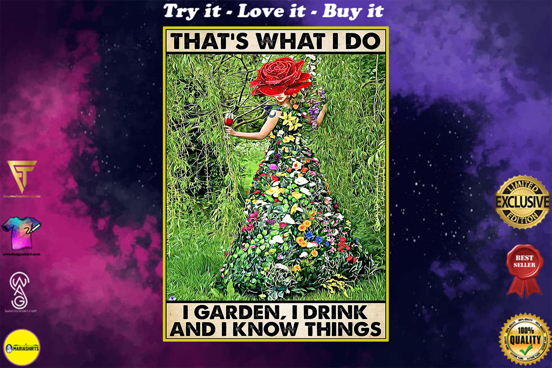 vintage gardening thats what i do i garden i drink and i know things poster