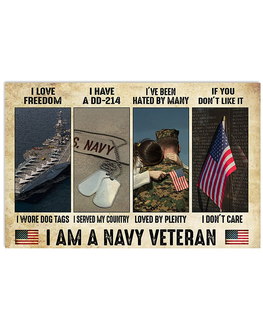 vintage i am a navy veteran i love freedom i woe dog tags i have a dd 214 i served my country poster 1