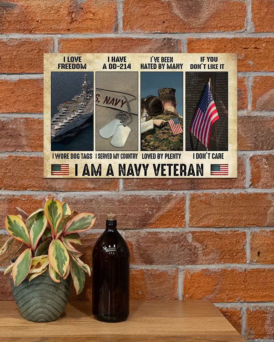 vintage i am a navy veteran i love freedom i woe dog tags i have a dd 214 i served my country poster 2