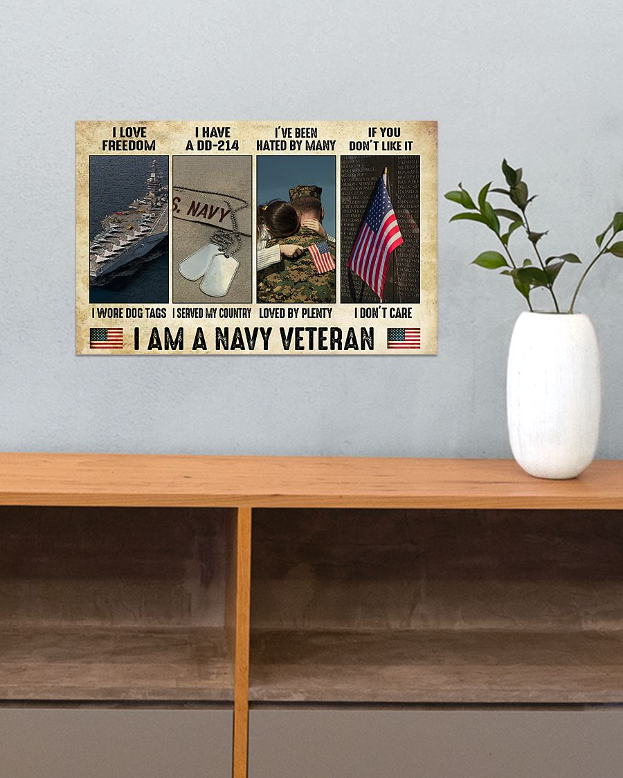 vintage i am a navy veteran i love freedom i woe dog tags i have a dd 214 i served my country poster 3
