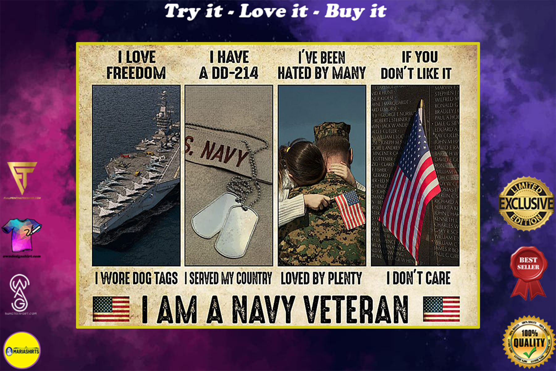 vintage i am a navy veteran i love freedom i woe dog tags i have a dd 214 i served my country poster