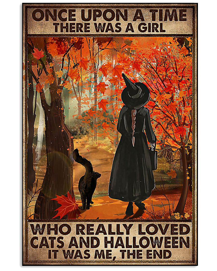 vintage once upon a time there was a girl who really loved cats and halloween poster 1