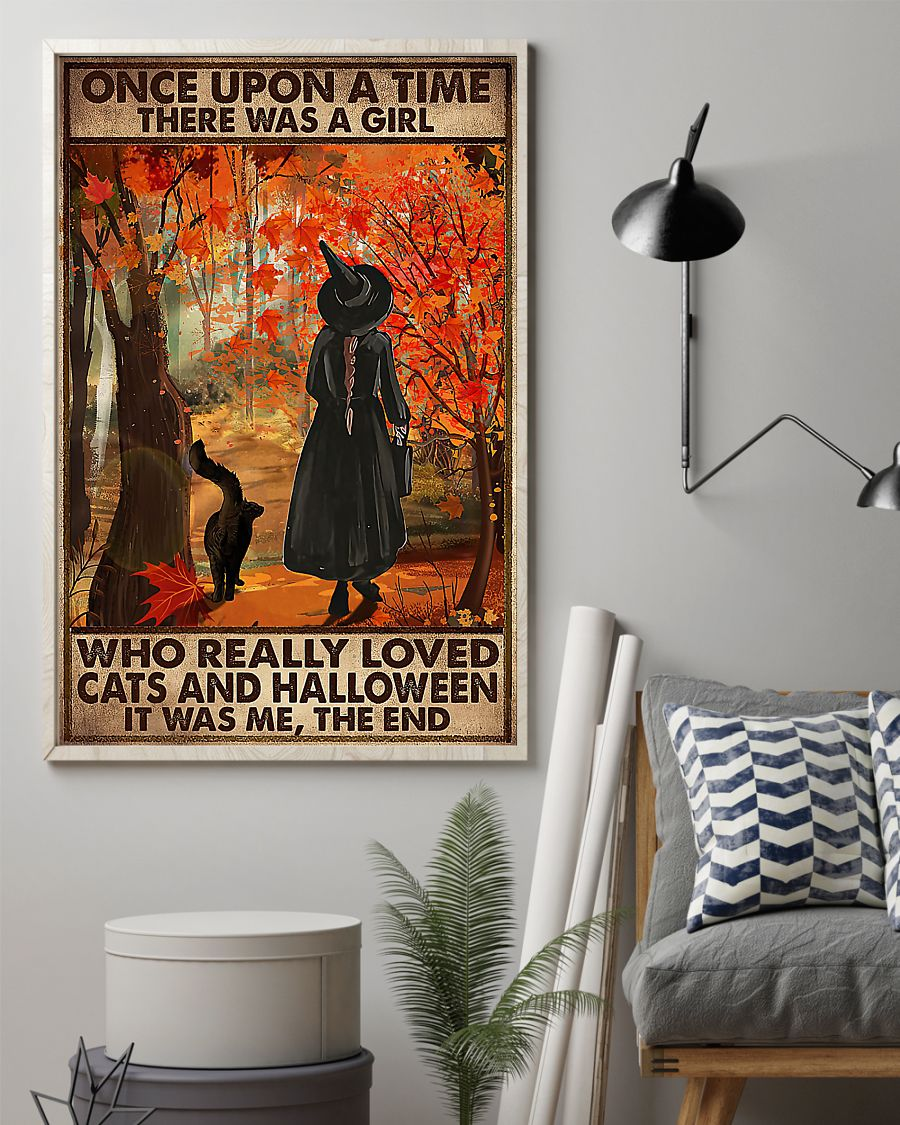 vintage once upon a time there was a girl who really loved cats and halloween poster 2