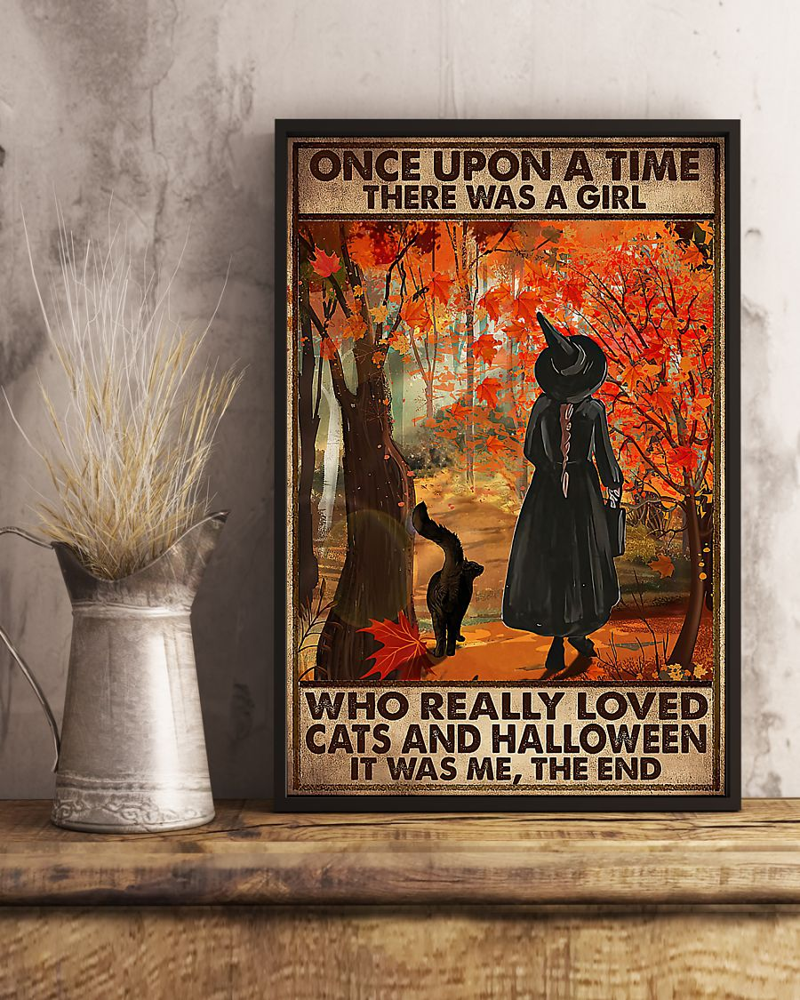 vintage once upon a time there was a girl who really loved cats and halloween poster 3