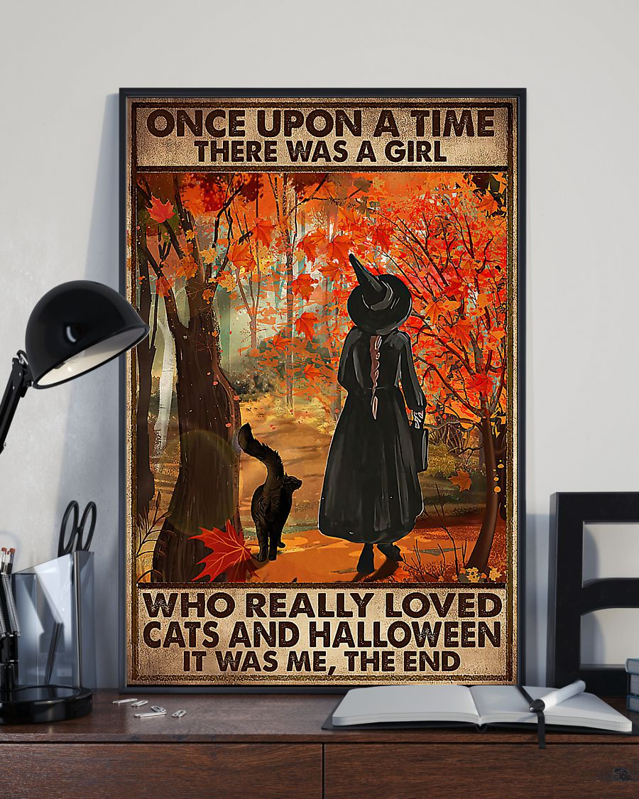 vintage once upon a time there was a girl who really loved cats and halloween poster 4