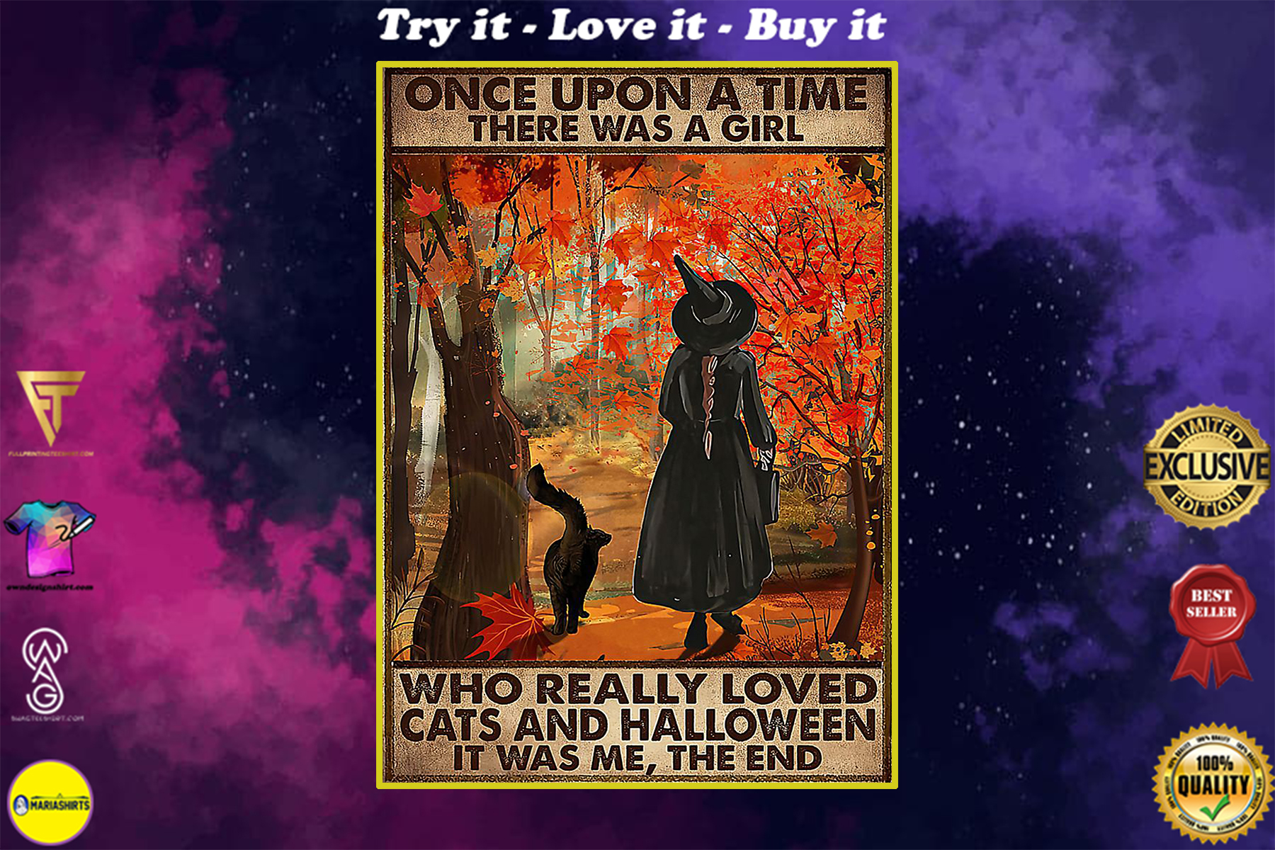 vintage once upon a time there was a girl who really loved cats and halloween poster
