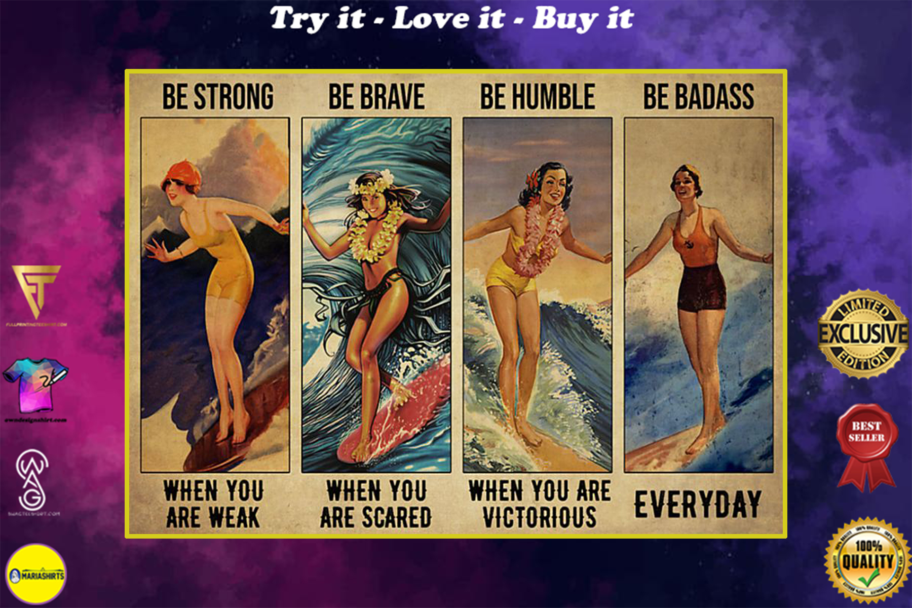 vintage surfing girl be strong when you are weak be brave when you are scared poster