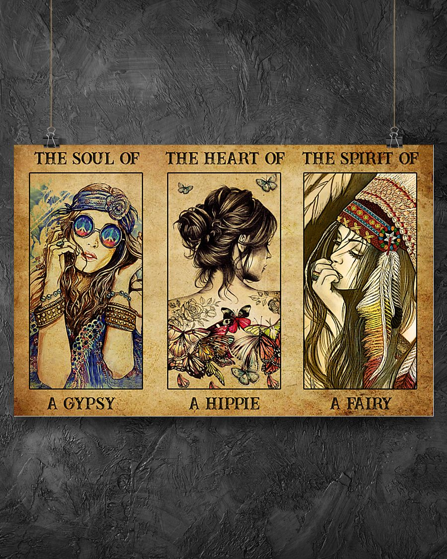vintage the soul of a gypsy the heart of a hippie the spirit of a fairy poster 2
