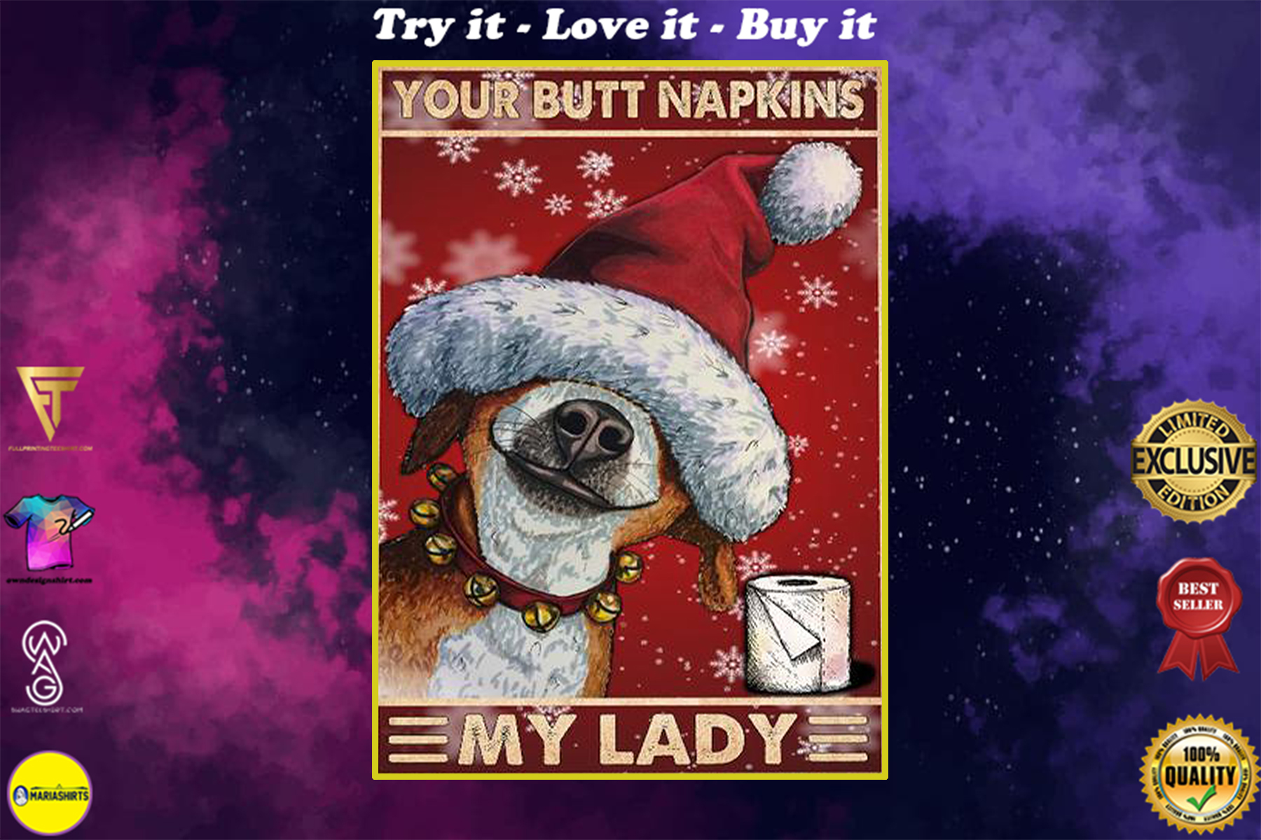 vintage your butt napskins my lady dog christmas poster