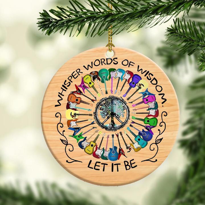 whisper word of wisdom guitar peace sign hippie christmas ornament 4