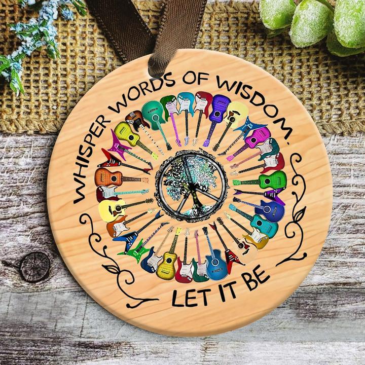 whisper word of wisdom guitar peace sign hippie christmas ornament 5