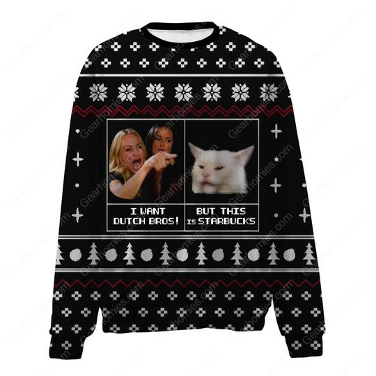 woman yelling at a cat all over printed ugly christmas sweater 2