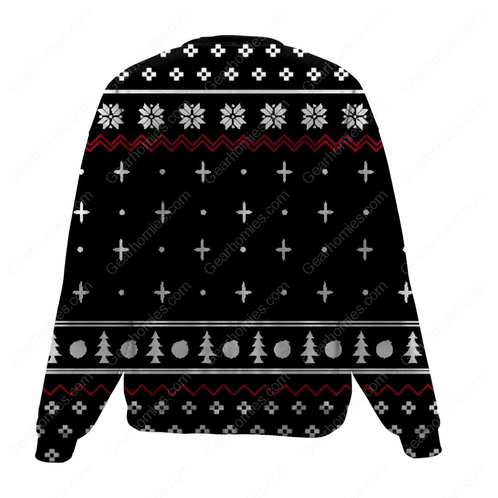 woman yelling at a cat all over printed ugly christmas sweater 4