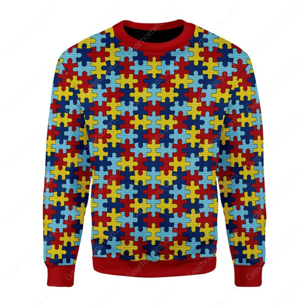 world autism awareness day all over printed ugly christmas sweater 1